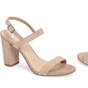 Nude suede strappy block heels